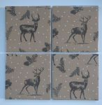 4 Ceramic Coasters in Next Stag